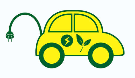 electric car or electric vehicle with green energy concept to save the   energy. easy to modify Ilustração