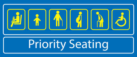 set of priority seating sticker or label, for mass rapid transit or other public transportation. easy to modify Vectores