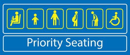 set voorrangsplaatsstickers of -labels, voor snel openbaar vervoer of ander openbaar vervoer. gemakkelijk aan te passen Vector Illustratie