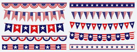set of american flag decoration clip art. easy to modify Ilustração
