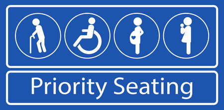 Satz von Aufklebern oder Aufklebern für vorrangige Sitzplätze, für den Nahverkehr oder andere öffentliche Verkehrsmittel. einfach zu ändern