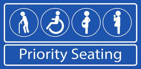 set di adesivi o etichette per posti a sedere prioritari, per il trasporto rapido di massa o altri mezzi di trasporto pubblico. facile da modificare