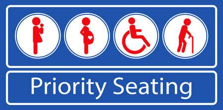 Satz von Aufklebern oder Aufklebern für vorrangige Sitzplätze, für den Nahverkehr oder andere öffentliche Verkehrsmittel. einfach zu ändern Vektorgrafik