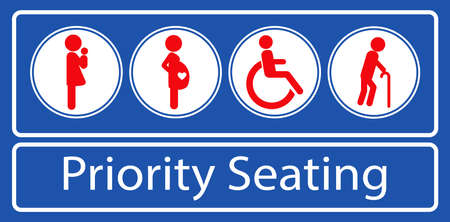 set of priority seating sticker or label, for mass rapid transit or other public transportation. easy to modify Ilustração