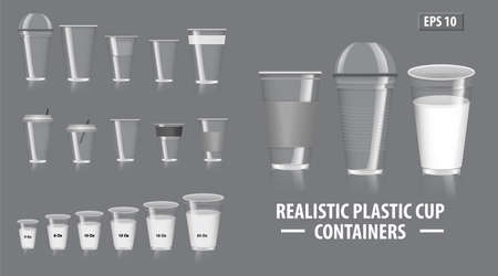 Set of realistic colorfull cup containers, with clear plastic in disposable cups, for soda, tea, cofee and other cold and hot beverages - transparent mode. easy to modify