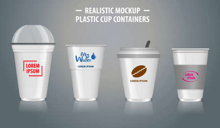 Set of mock up realistic cup containers, with clear plastic in disposable cups, for soda, tea, coffee and other cold and hot beverages - transparent mode. easy to modify
