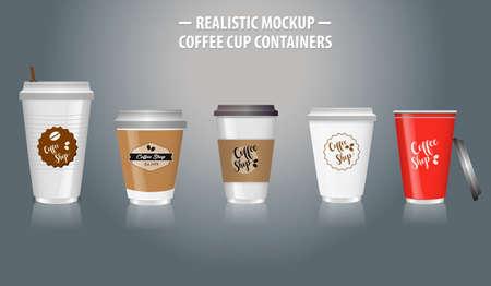 Conjunto de maquetas de contenedores de taza de café realistas, con plástico transparente en vasos desechables. fácil de modificar