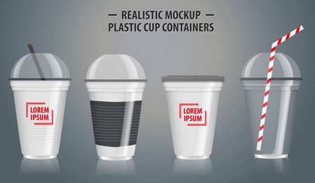 Set of mock up realistic plastic cup containers, with clear in disposable cups.   easy to modify Ilustração