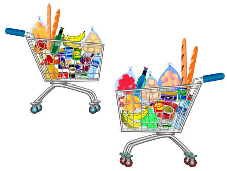 set of isolated Shopping trolley full of food, fruit, products and grocery goods. easy to modify Ilustração