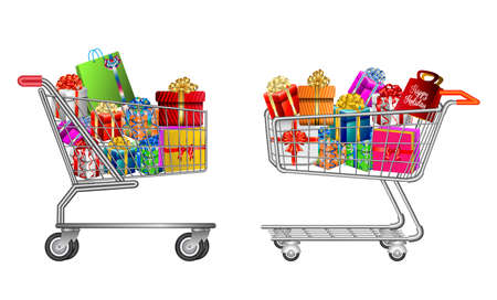set of isolated Shopping trolley full of gift box. easy to modify