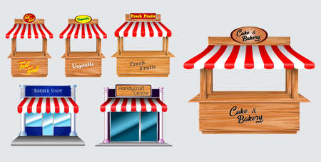 Wooden market stand stall and various kiosk, with red and white striped awning   isolated (fast food, vegetable, fresh fruit, barber shop, handy,   cake bakery). easy to modify Ilustração
