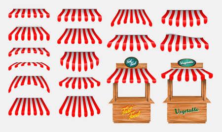 conjunto de toldo con puesto de mercado de madera y varios quioscos, con toldo de rayas rojas y blancas aislado. fácil de modificar