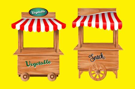 set of awing with wooden market stand stall and various kiosk, with red and   white striped awning isolated. easy to modify