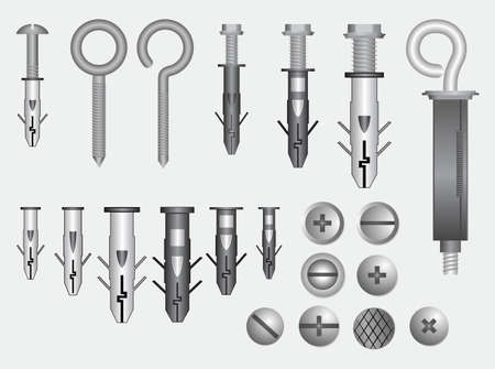 set of realistic metal screw stainless. easy to modify 向量圖像
