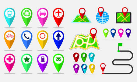 set of maps pin, locating destination on application or gadget. easy to modify Illustration