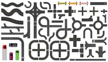 set of road parts with dashed line, roadside marking, intersections junction and crosswalk. easy to modify Ilustração