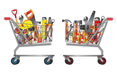 set of hand tools in trolley shopping. easy to modify Ilustração