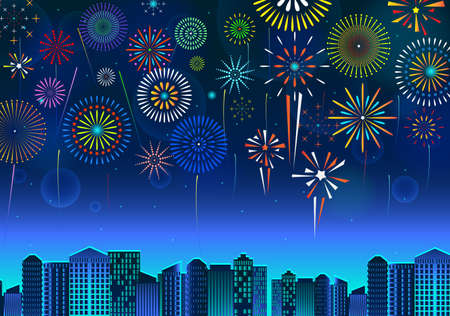 set of fireworks festive display over the cityscape, at night blue sky scene   holiday or celebration. easy to modify 向量圖像