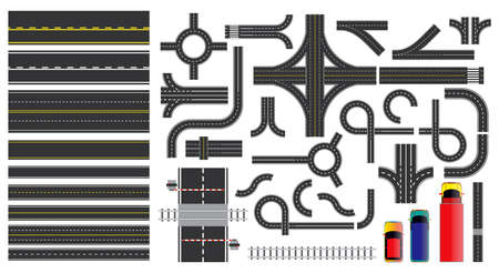 set of road sign and road parts with dashed line, roadside marking, intersections junction and crosswalk. easy to modify