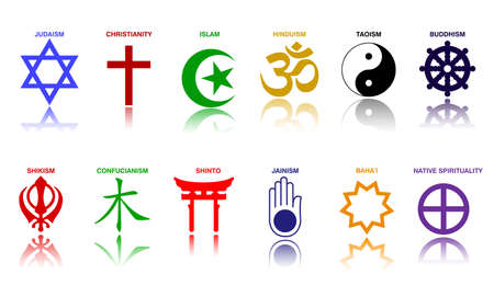 world religion symbols colored signs of major religious groups and religions.   easy to modify 向量圖像