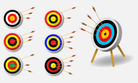 set of archery target with arrows in white background isolated. easy to modify