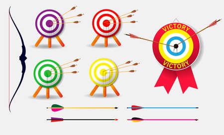 conjunto de objetivo de concepto de negocio de tiro con arco con flechas en fondo blanco aislado. fácil de modificar