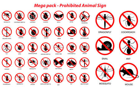 set of various insect and animals prohibited in silhouette, with insect name. easy to modify 向量圖像