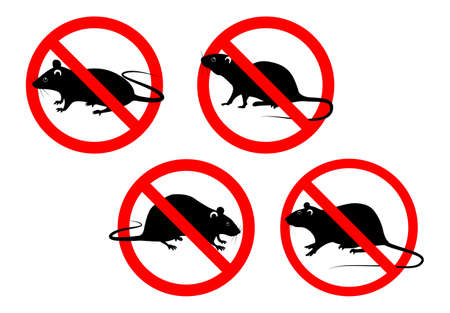set of prohibited mouse in pest control concept. easy to modify