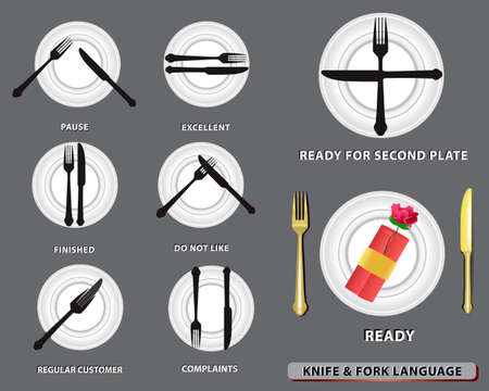 set of realistic knife fork and spoon, in table dinner concept or eating   etiquette concept. easy to modify