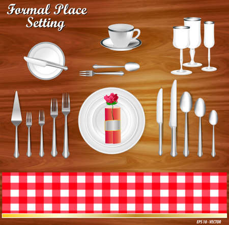 set of realistic knife fork and spoon, in formal place setting concept. easy to modify Illustration