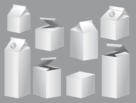 Set of boxes blank white product mock up template. easy to modify Ilustração