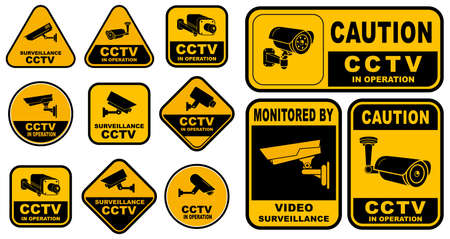 Set of Various Security Camera or cctv for street, home and building concept. easy to modify