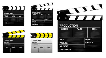 set of movie clapper board. easy to modify Illustration