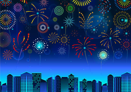 set of fireworks festive display over the cityscape, at night blue sky scene holiday or celebration. easy to modify