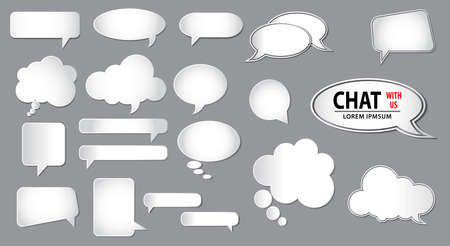 set of empty bubbles speech concept or white comic bubble. easy to modify