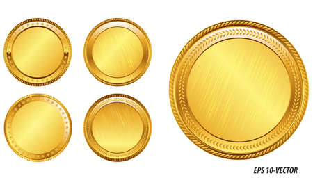 set of realistic gold coin. easy to modify