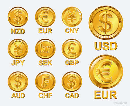 famous world currencies in golden coin concept. easy to modify