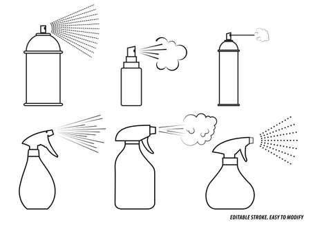 set of spray icon. editable stroke. easy to modify 向量圖像