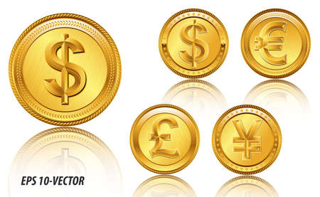 famous world currencies in shadow golden coin concept. easy to modify