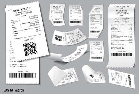 Conjunto de recibo de venta de registro o recibo de efectivo impreso en concepto de papel blanco. fácil de modificar
