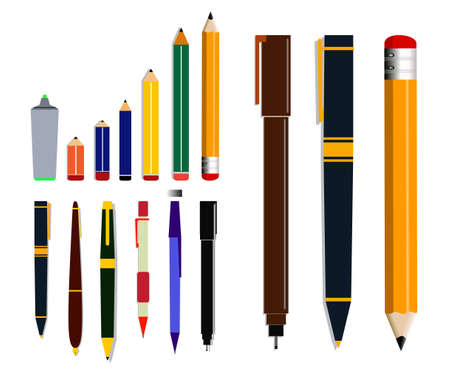set of pencil or ballpoint in flat mode. easy to modify 向量圖像