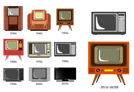 set of television history timeline or evolution television receiver concept.   easy to modify