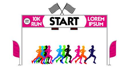 set of marathon start finish line. easy to modify -