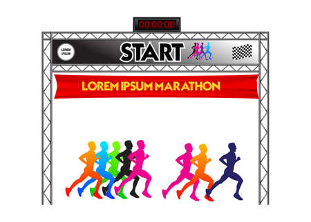 set of marathon start finish line. easy to modify -
