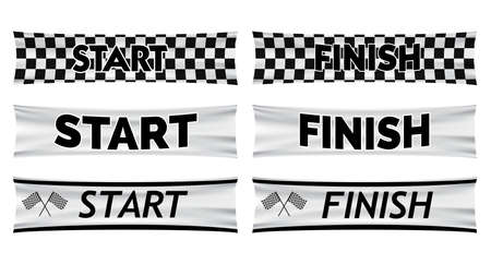 set of start and finish banner line for marathon run concept. easy to modify  イラスト・ベクター素材