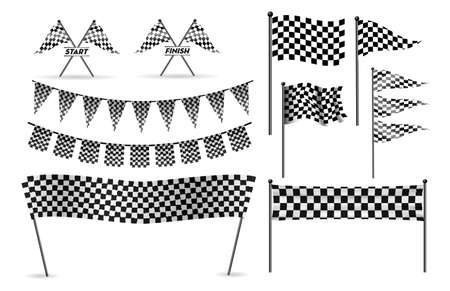 set of racing flag, finish and start line concept. easy to modify