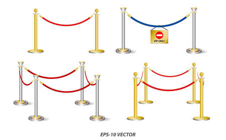 set of golden barricade or stand barrier rope isolated. easy to modify Çizim