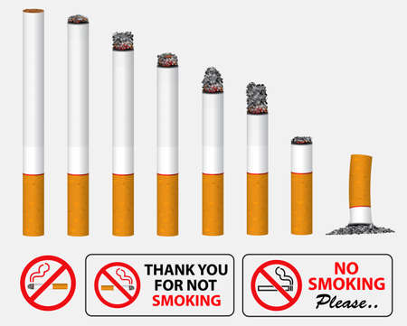 set of realistic cigarette smoldering in a line and no smoking sign. easy to   modify