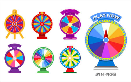 set of 3D spinning wheels or roulette fortune in flat icon concept. easy to modify
