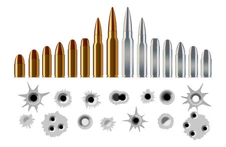 set of bullet shot holes and types of rifle pistol ammunition in gold and silver color. easy to modify